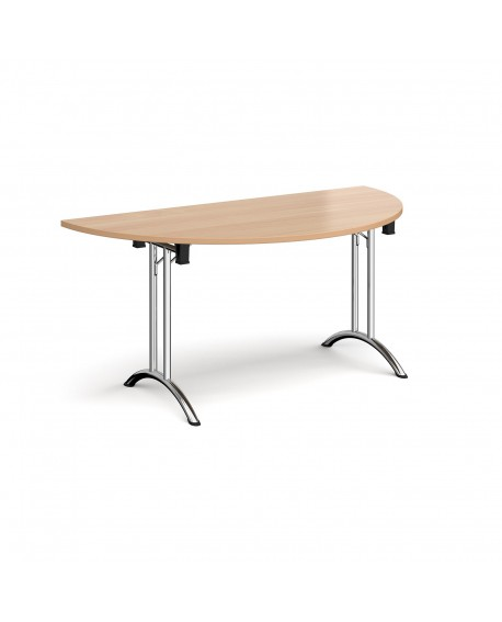 Semi circular folding leg table with curved feet