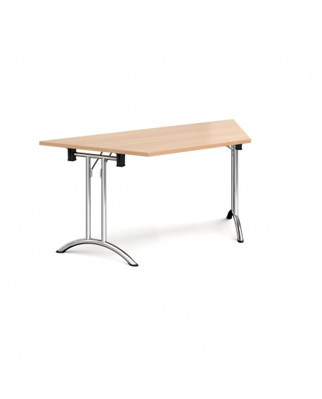 Trapezoidal folding leg table with curved feet