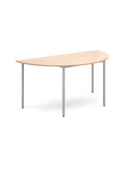Semi circular flexi table with silver frame