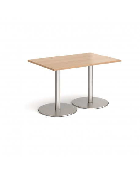 Monza rectangular dining table with flat round bases
