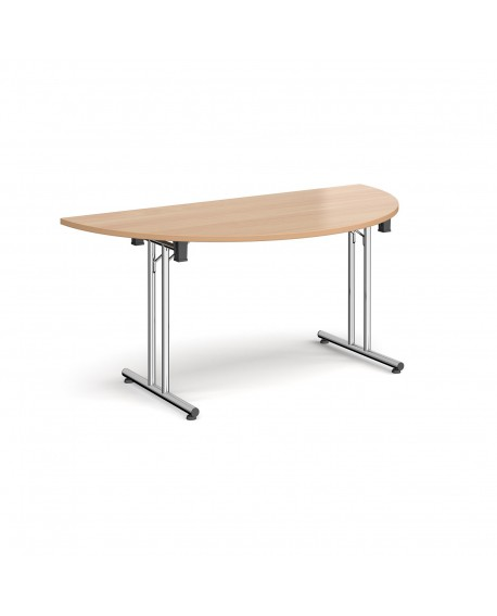 Semi circular folding leg table with straight feet