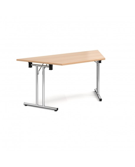Trapezoidal folding leg table with straight feet