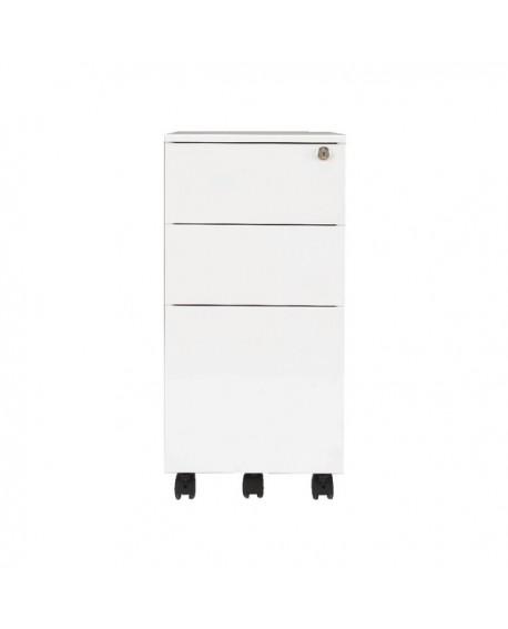 Office Hippo 3 Drawer Under Desk Slimline Mobile Filing Steel Pedestal