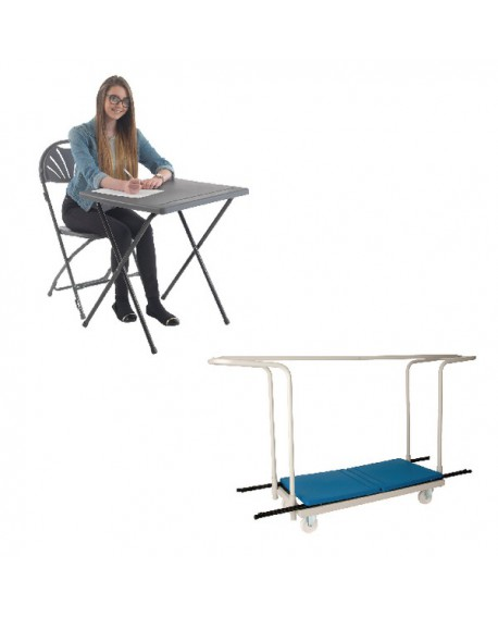 Jemini PP Exam Desk Blue (Pack of 40) and Trolley Promotion KF839287