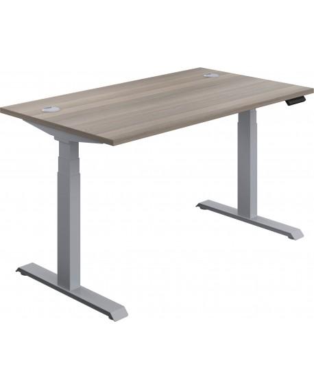 Jemini Sit Stand Desk 1400x800mm Grey Oak/Silver KF809821