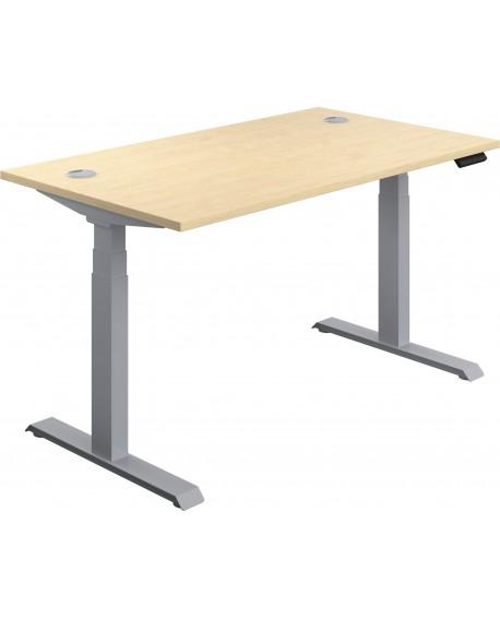 Jemini Sit Stand Desk 1600x800mm Maple/Silver KF809951