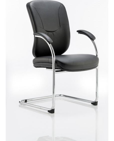 Mirage Visitor Cantilever Chair Black Leather With Arms