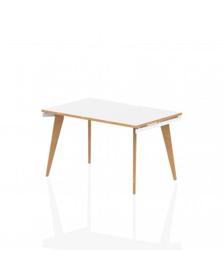 Oslo B2B White Frame Wooden Leg Bench Desk