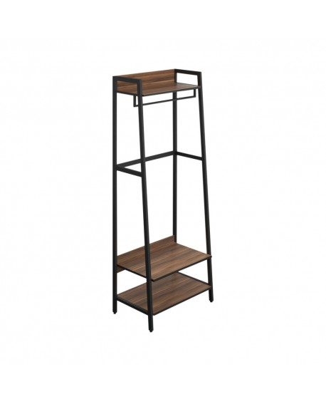 SOHO Coat Stand H1690 with Rail 3 Shelves Walnut/Brown Metal SOHOBOOK2