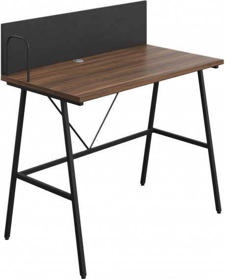 SOHO Computer Desk W1000 with Backboard Walnut/Black Legs SOHODESK10