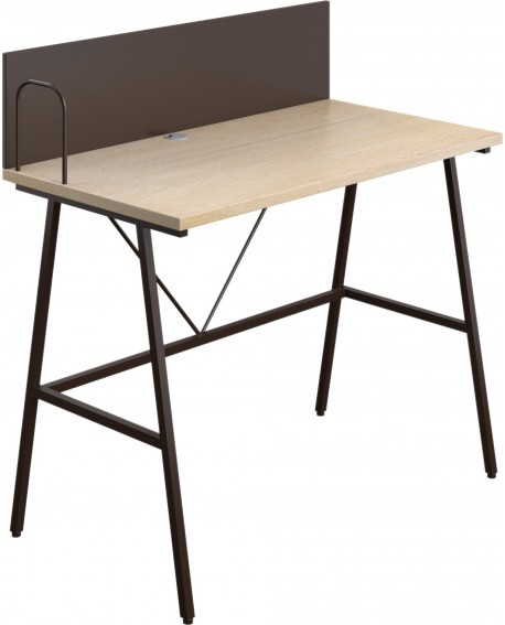 SOHO Computer Desk W1000mm with Backboard Oak/Brown Legs SOHODESK9