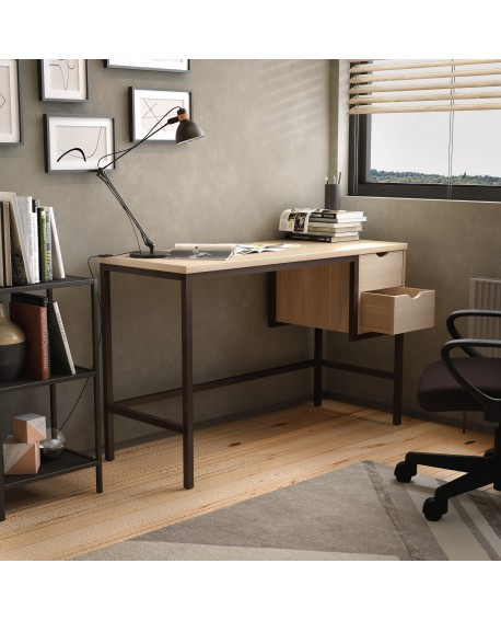 SOHO Computer Desk 1300mm 2 Drawers Oak/Brown Legs SOHODESK1