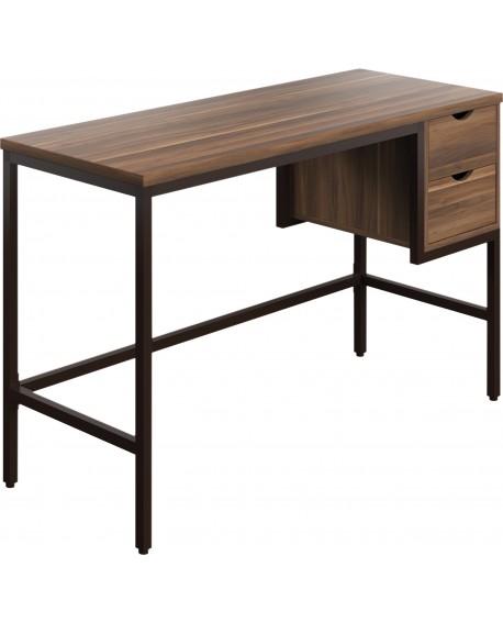 SOHO Computer Desk 1300mm 2 Drawers Walnut/Black Legs SOHODESK2