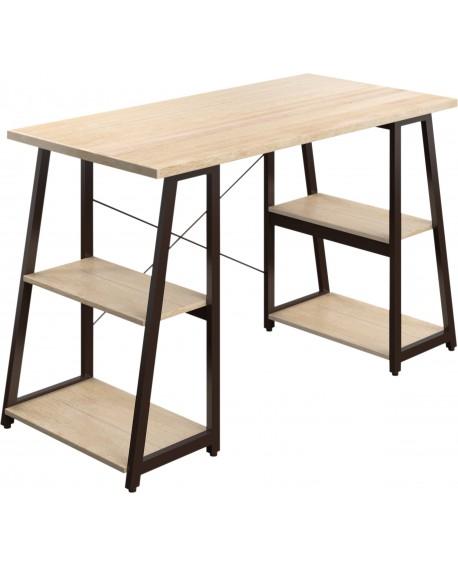 SOHO Computer Desk Oak 1300mm A-Frame Brown Leg Shelves SOHODESK5