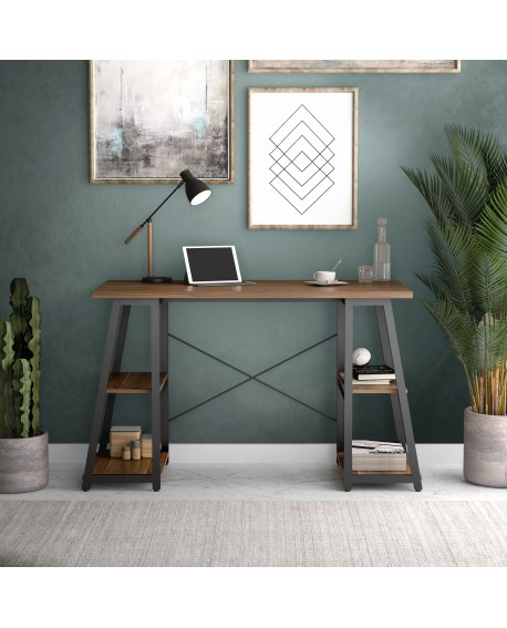 SOHO Computer Desk Walnut W1300mm A-Frame Black Leg Shelves SOHODESK6