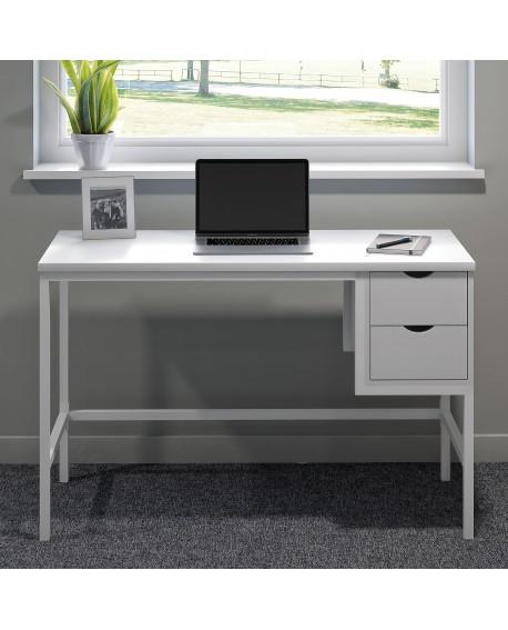 SOHO Computer Desk White W1200mm 2 Drawers White Legs SOHODESK1WH