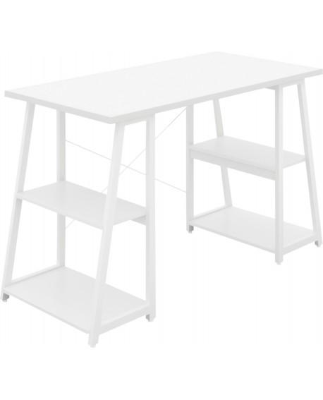 SOHO Computer Desk White W1200mm A-Frame White Leg Shelves SOHODESK5WH