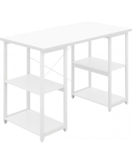 SOHO Computer Desk W1200mm with Shelves White/White Legs SOHODESK7WH
