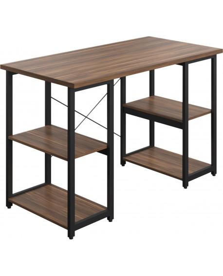 SOHO Computer Desk Walnut W1300mm Square Leg Shelves Black SOHODESK8