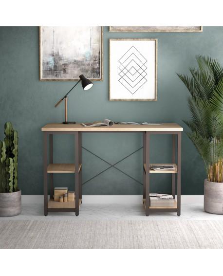 SOHO Computer Desk Oak W1300mm Square Leg Shelves Brown SOHODESK7