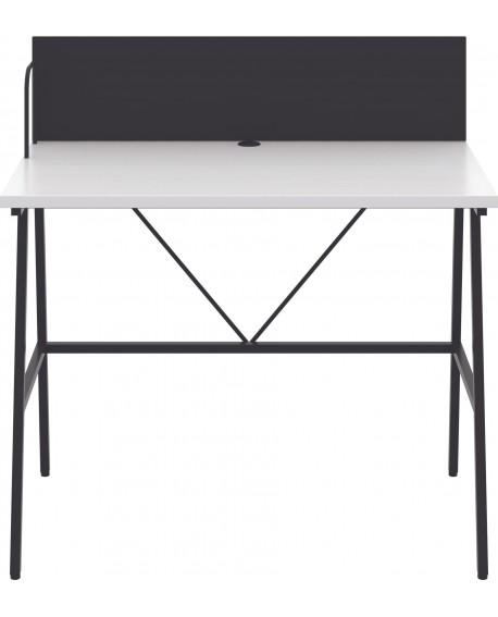 Soho Desk with Backboard White/Black Leg SD09BKWH