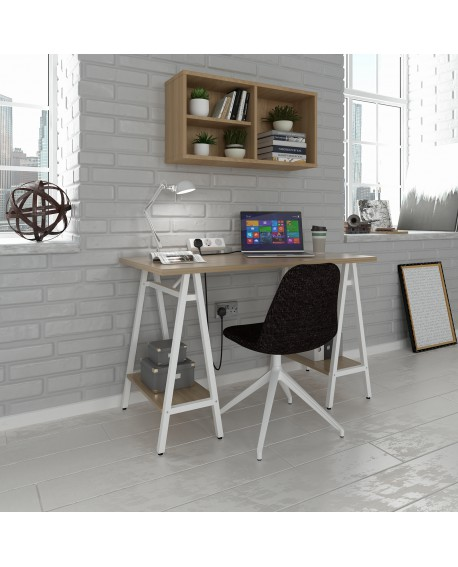 Pella Home Office Workstation With Trestle Legs Windsor Oak