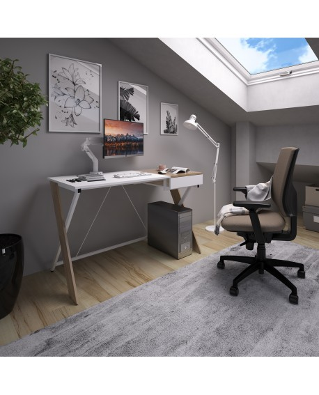 Sidon Home Office Workstation With Pull Out Drawer English Oak