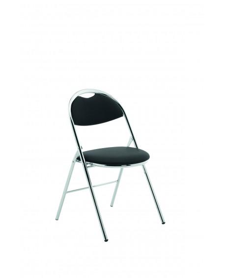 Milan Folding Chair Black Vinyl