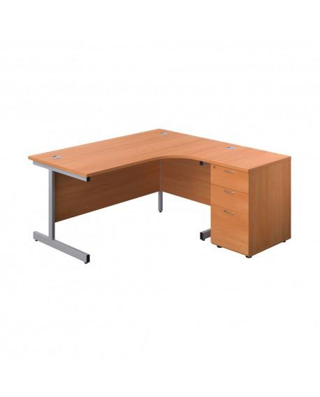 Office Hippo Corner Desk and Pedestal Bundle