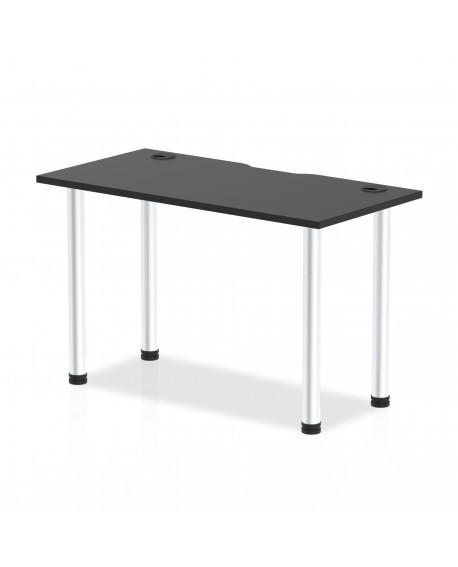 Impulse Black Straight Table With Cable Ports