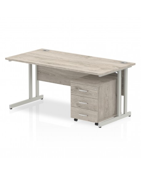 Impulse Cantilever Leg Rectangle Desk With 3 Drawer Mobile Pedestal