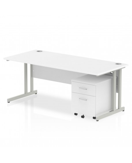 Impulse Cantilever Leg Rectangle Desk With 2 Drawer Mobile Pedestal