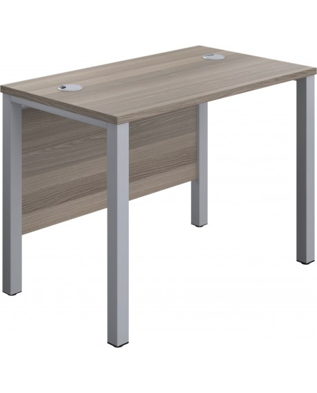 Office Hippo Rectangular Desk, Silver Legs, Grey Oak Top, 100 x 60 x 73 cm