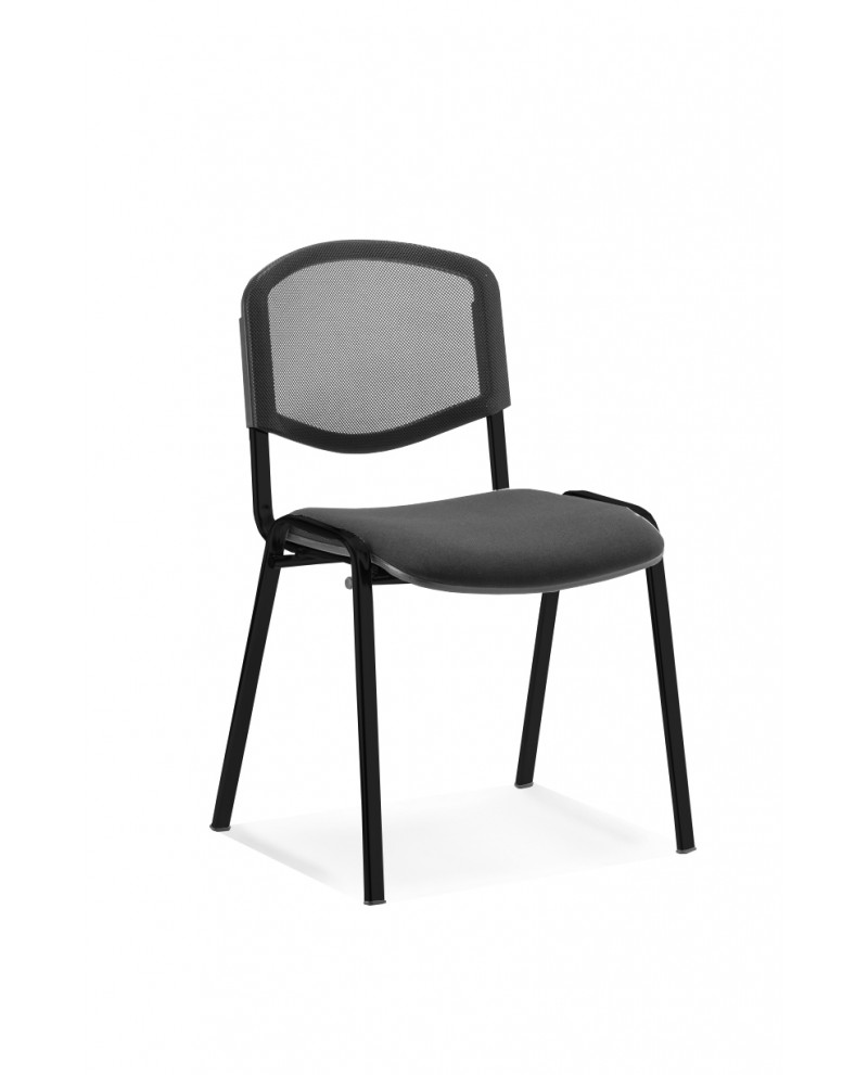 ISO Black Mesh Stacking Chair Without Arms