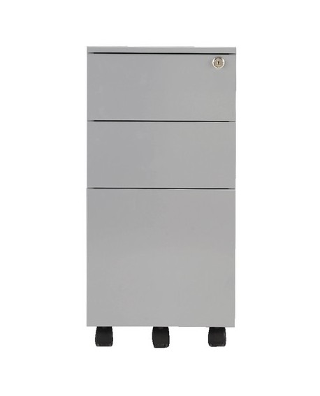 Jemini Mobile Steel 3 Drawer Slimline Pedestal