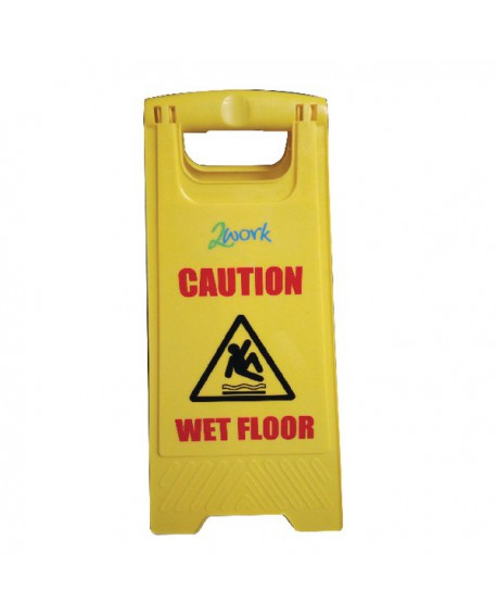 Yellow Folding Safety Sign Caution Wet Floor and Cleaning In Progress 101423