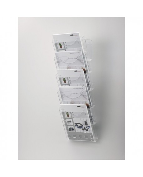Helit Transparent Grey 5-Pocket A4 Literature Display H61031