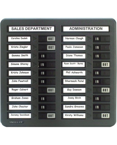 Indesign In/Out Board 20 Names Grey WPIT20I