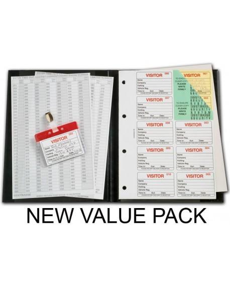 Identibadge Black Visitors Book Value Pack IBVBSYS300