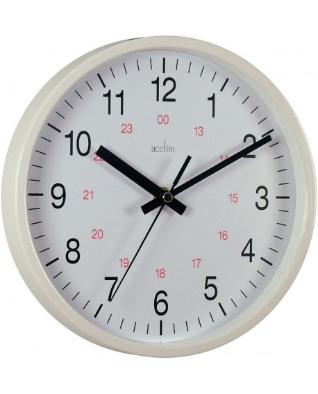 Acctim White Metro 24 Hour Plastic Wall Clock 355mm 21202