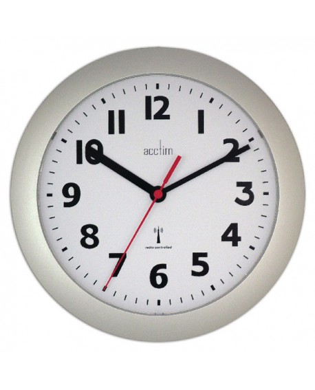 Acctim Silver Parona Radio Controlled Plastic Wall Clock 74317