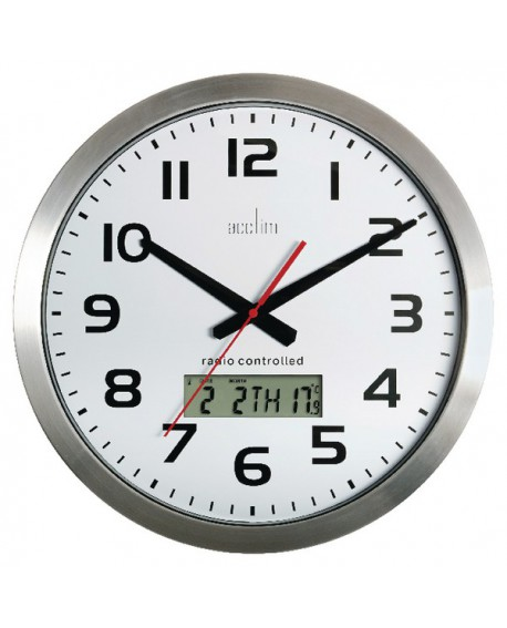 Acctim Meridian RC Wall Clock Alum 74447
