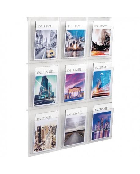 Helit Placativ Wall Display 9xA4 Pockets Clear HS812102