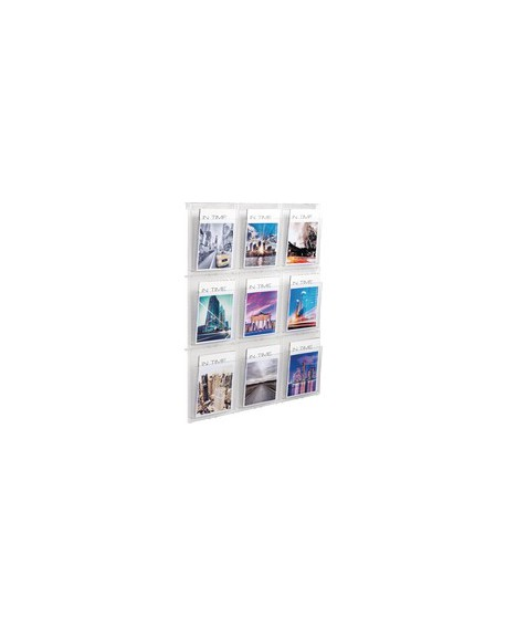 Helit Placativ Wall Display 9xA4 Pockets Clear HS812102